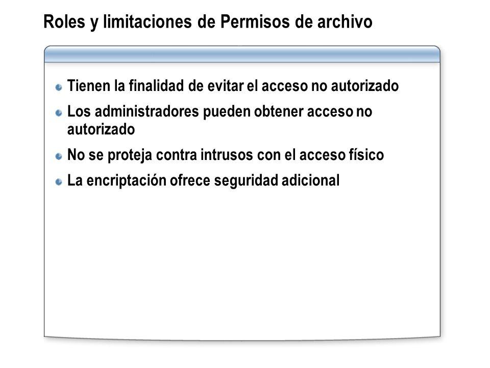 Roles y limitaciones de Permisos de archivo Tienen la finalidad de evitar el acceso no autorizado Los administradores pueden obtener acceso no autoriz
