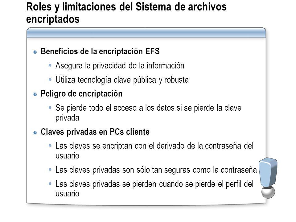 Roles y limitaciones del Sistema de archivos encriptados Beneficios de la encriptación EFS Asegura la privacidad de la información Utiliza tecnología