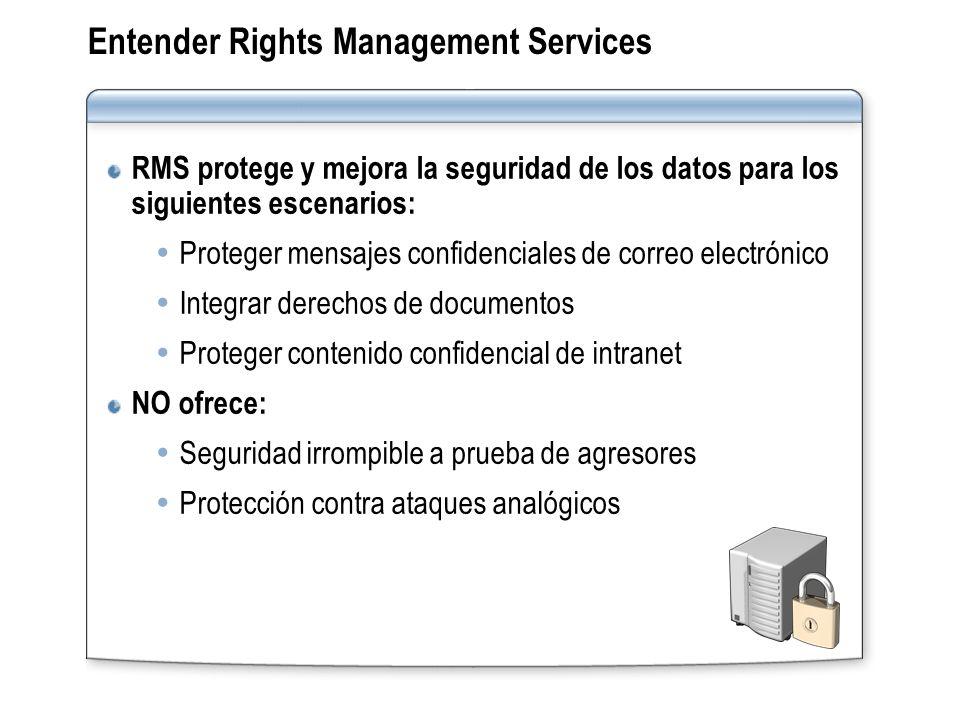 Entender Rights Management Services RMS protege y mejora la seguridad de los datos para los siguientes escenarios: Proteger mensajes confidenciales de