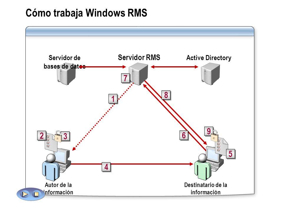 Cómo trabaja Windows RMS Autor de la información Destinatario de la información 1 1 2 2 4 4 6 6 8 8 9 9 3 3 5 5 Active DirectoryServidor de bases de d