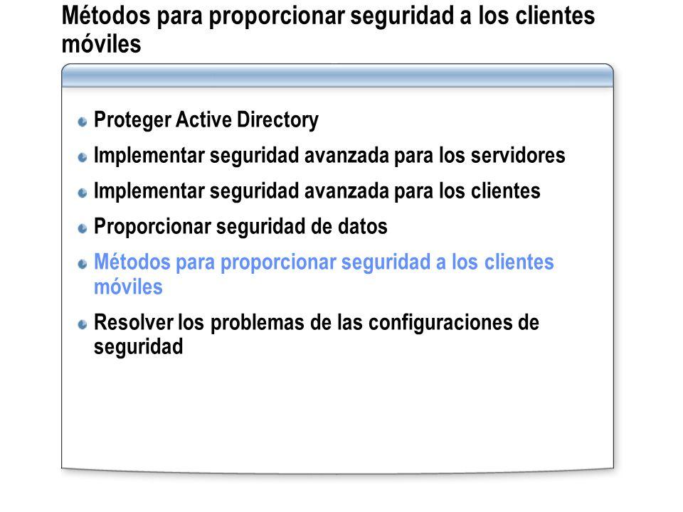 Métodos para proporcionar seguridad a los clientes móviles Proteger Active Directory Implementar seguridad avanzada para los servidores Implementar se