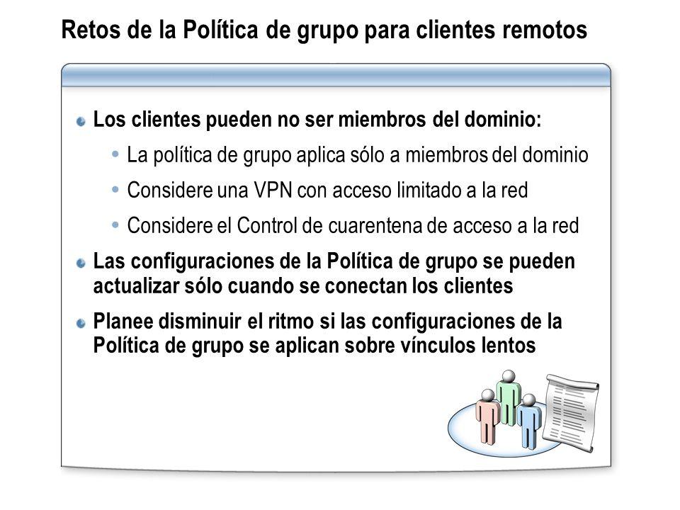 Retos de la Política de grupo para clientes remotos Los clientes pueden no ser miembros del dominio: La política de grupo aplica sólo a miembros del d
