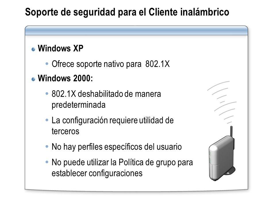 Soporte de seguridad para el Cliente inalámbrico Windows XP Ofrece soporte nativo para 802.1X Windows 2000: 802.1X deshabilitado de manera predetermin