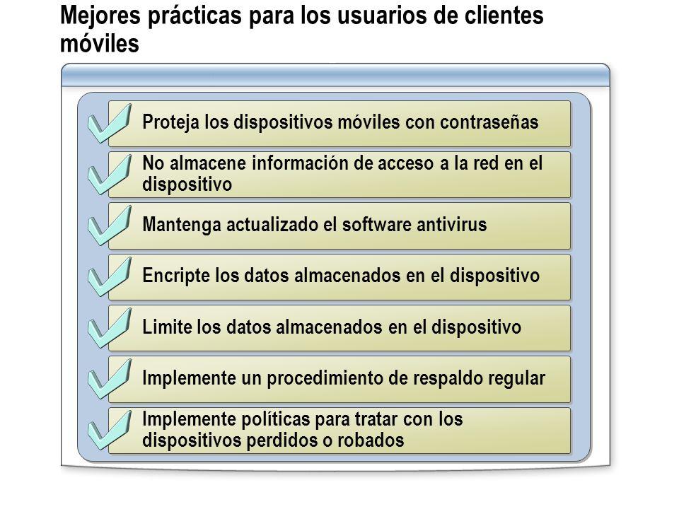 Proteja los dispositivos móviles con contraseñas No almacene información de acceso a la red en el dispositivo Mantenga actualizado el software antivir
