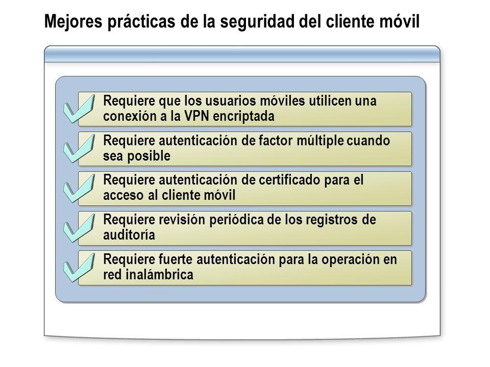 Requiere que los usuarios móviles utilicen una conexión a la VPN encriptada Requiere autenticación de factor múltiple cuando sea posible Requiere aute