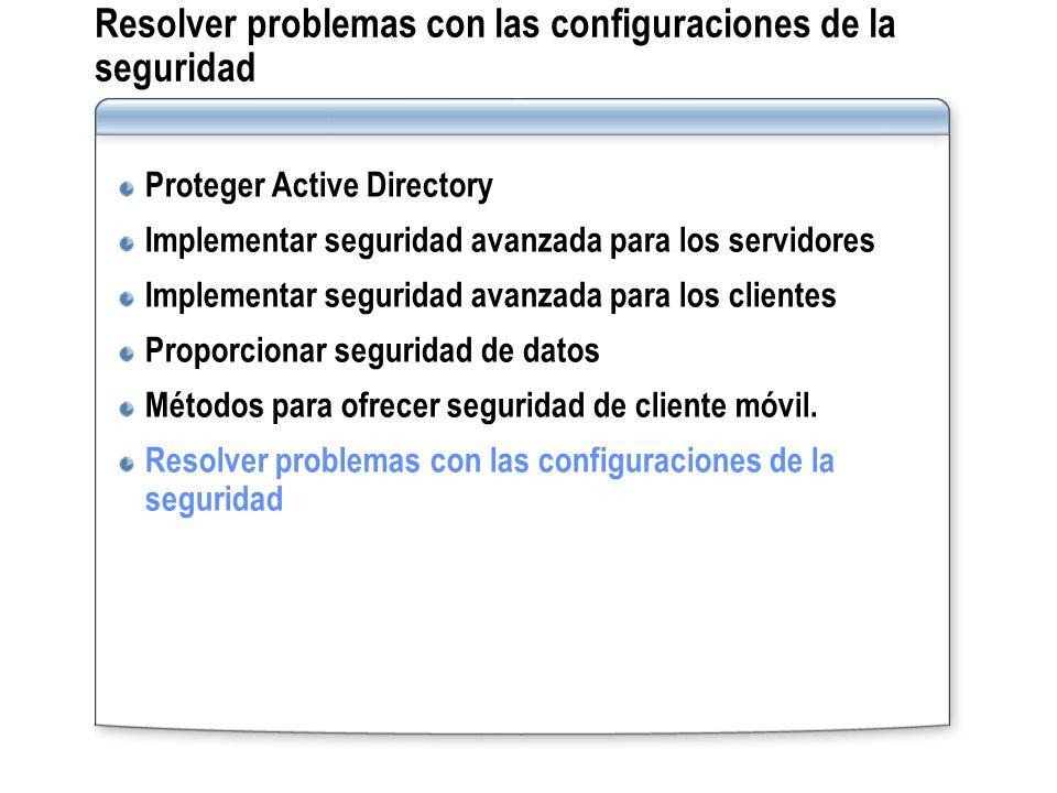 Resolver problemas con las configuraciones de la seguridad Proteger Active Directory Implementar seguridad avanzada para los servidores Implementar se