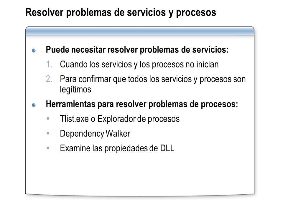 Resolver problemas de servicios y procesos Puede necesitar resolver problemas de servicios: 1.Cuando los servicios y los procesos no inician 2.Para co