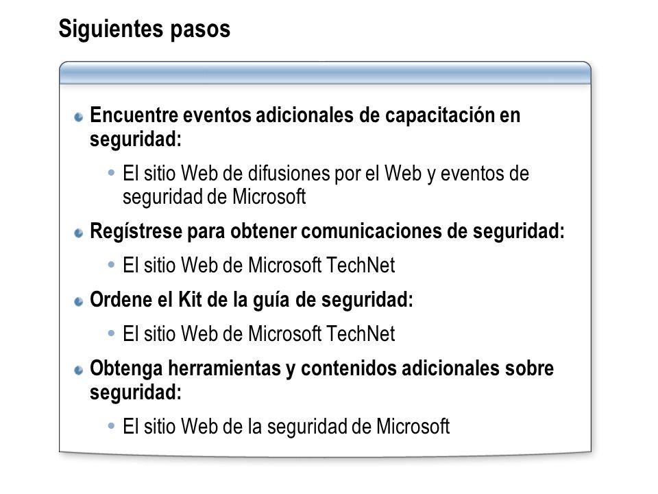 Siguientes pasos Encuentre eventos adicionales de capacitación en seguridad: El sitio Web de difusiones por el Web y eventos de seguridad de Microsoft