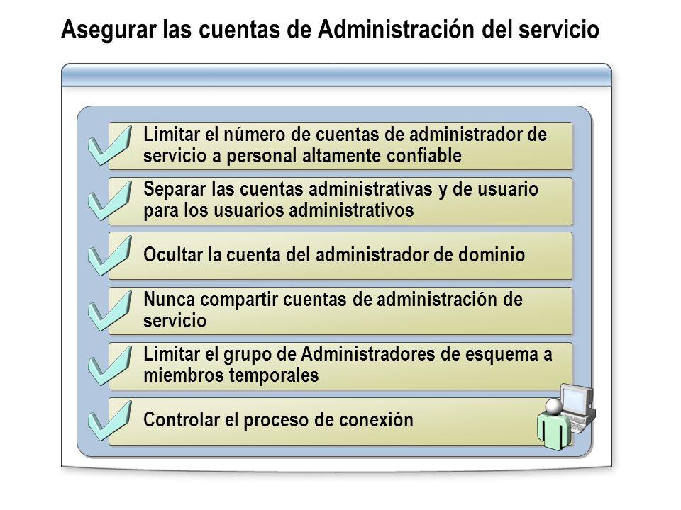 Limitar el número de cuentas de administrador de servicio a personal altamente confiable Separar las cuentas administrativas y de usuario para los usu