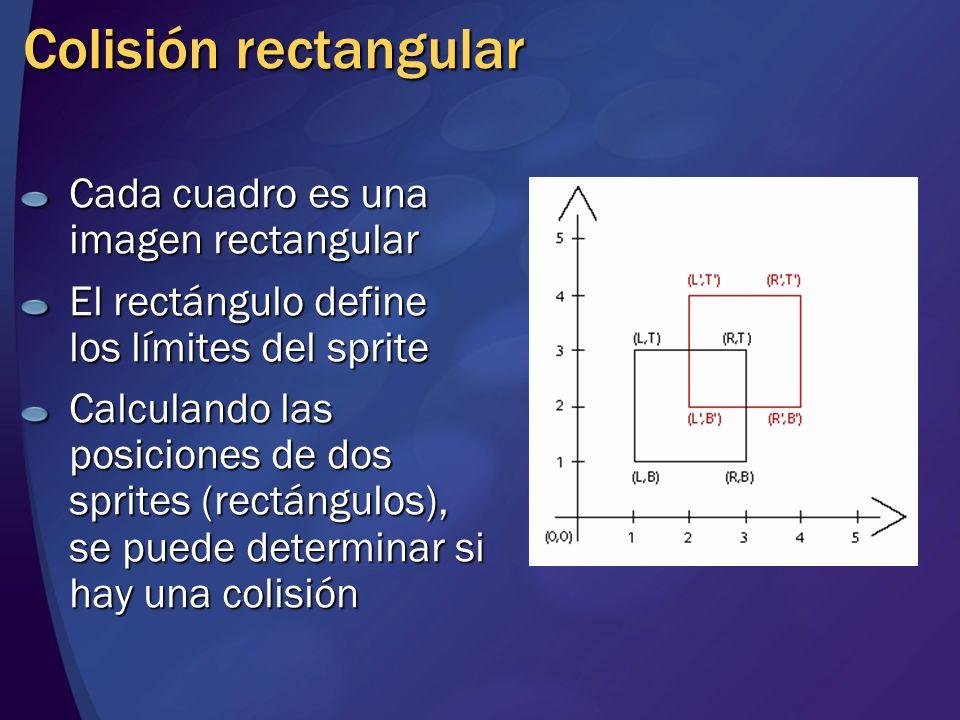 Colisión rectangular Cada cuadro es una imagen rectangular El rectángulo define los límites del sprite Calculando las posiciones de dos sprites (rectá