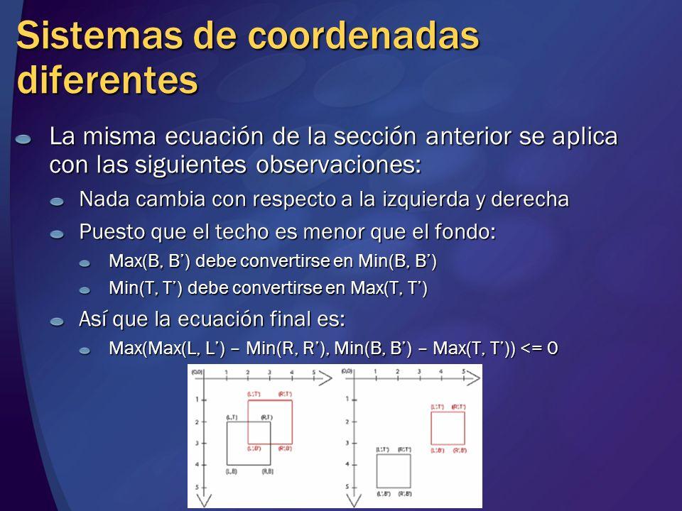 Sistemas de coordenadas diferentes La misma ecuación de la sección anterior se aplica con las siguientes observaciones: Nada cambia con respecto a la