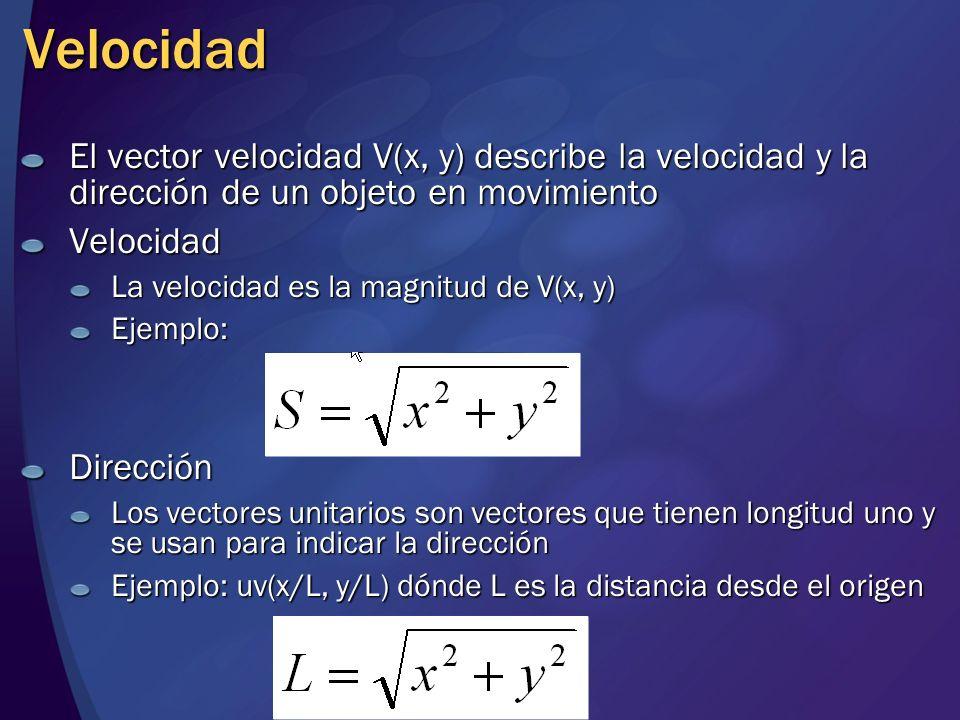 Velocidad El vector velocidad V(x, y) describe la velocidad y la dirección de un objeto en movimiento Velocidad La velocidad es la magnitud de V(x, y)