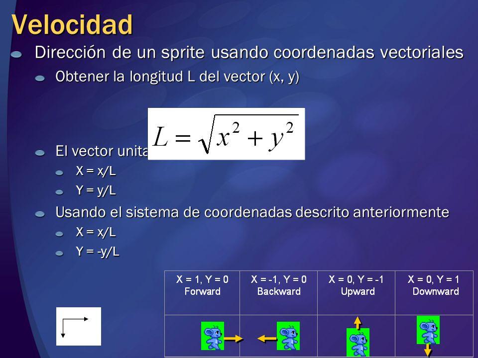 Velocidad Dirección de un sprite usando coordenadas vectoriales Obtener la longitud L del vector (x, y) El vector unitario es: X = x/L Y = y/L Usando