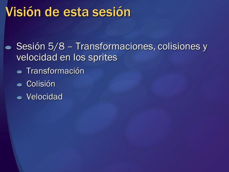 Visión de esta sesión Sesión 5/8 – Transformaciones, colisiones y velocidad en los sprites TransformaciónColisiónVelocidad