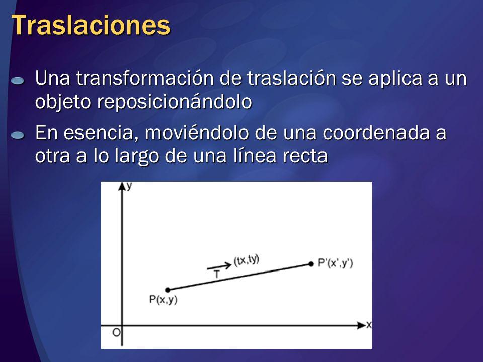 Traslaciones Una transformación de traslación se aplica a un objeto reposicionándolo En esencia, moviéndolo de una coordenada a otra a lo largo de una