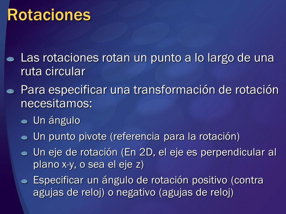 Rotaciones Las rotaciones rotan un punto a lo largo de una ruta circular Para especificar una transformación de rotación necesitamos: Un ángulo Un pun
