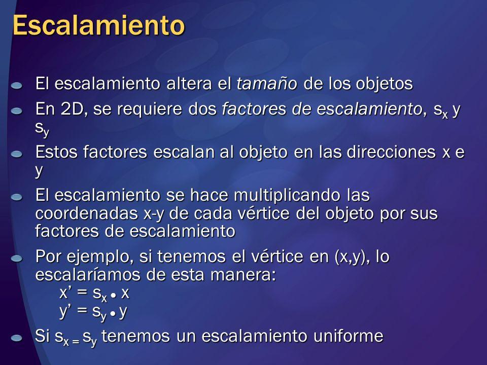 Escalamiento El escalamiento altera el tamaño de los objetos En 2D, se requiere dos factores de escalamiento, s x y s y Estos factores escalan al obje