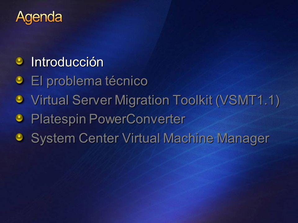 Servidor Físico W2K3 Server Con Virtual Server Host & VSMT W2K3 Server con ADS 1.1 & VSMT Ejecutar gatherhw.exe Mover el fichero XML al controlador ADS Ejecutar VMScript.exe para validar la configuración HW y generar los scripts personalizados Ejecutar el capture.cmd que Se haya generado Arrancar manualmente (PXE, ROM, RBFG) para que el ADS Deployment Agent capture la imagen Apagar el hardware viejo (Automático) Ejecutar el CreateVM.cmd generado, que llevara a cabo la secuencia de crear la Máquina Virtual en el Host.
