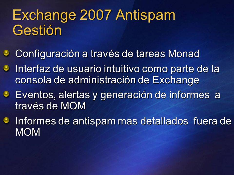Exchange 2007 Antispam Gestión Configuración a través de tareas Monad Interfaz de usuario intuitivo como parte de la consola de administración de Exch