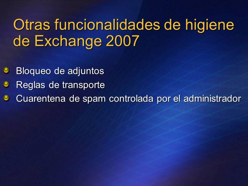 Otras funcionalidades de higiene de Exchange 2007 Bloqueo de adjuntos Reglas de transporte Cuarentena de spam controlada por el administrador