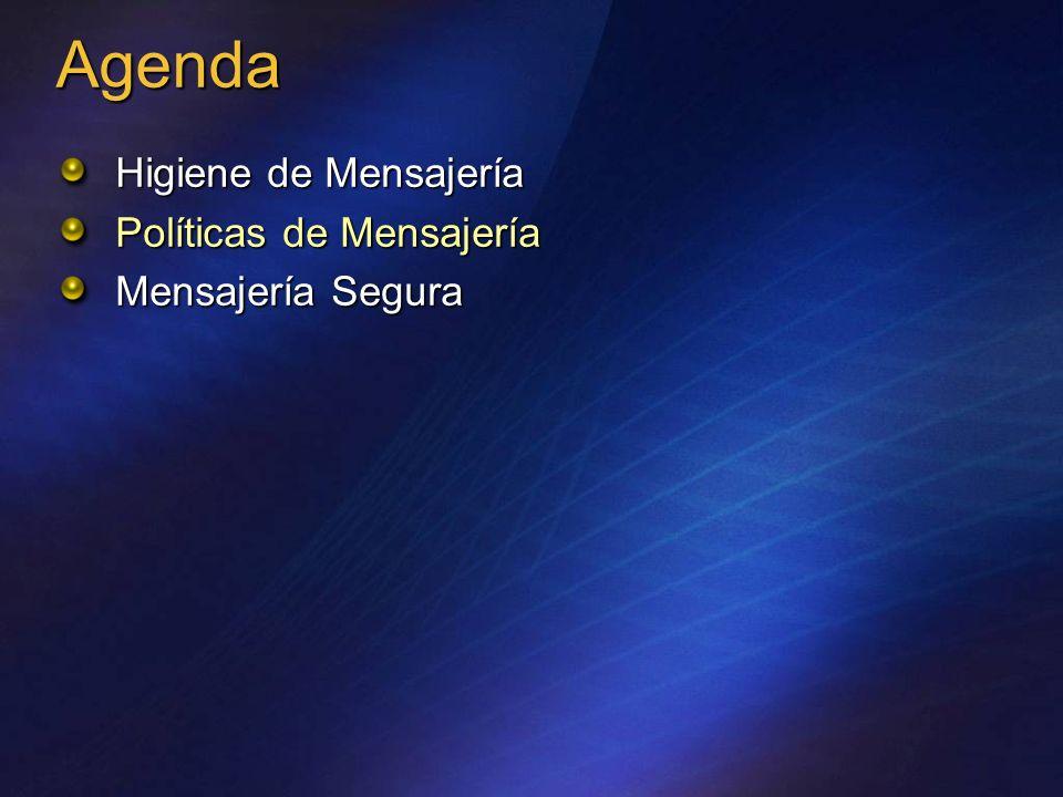 Agenda Higiene de Mensajería Políticas de Mensajería Mensajería Segura
