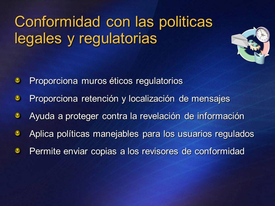 Conformidad con las politicas legales y regulatorias Proporciona muros éticos regulatorios Proporciona retención y localización de mensajes Ayuda a pr