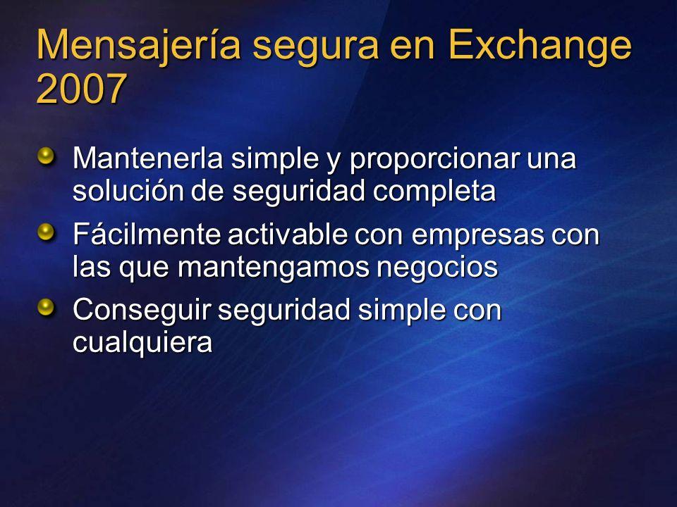 Mensajería segura en Exchange 2007 Mantenerla simple y proporcionar una solución de seguridad completa Fácilmente activable con empresas con las que m
