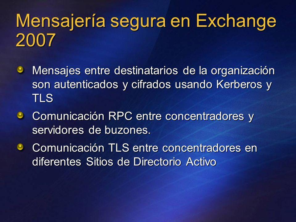 Mensajería segura en Exchange 2007 Mensajes entre destinatarios de la organización son autenticados y cifrados usando Kerberos y TLS Comunicación RPC