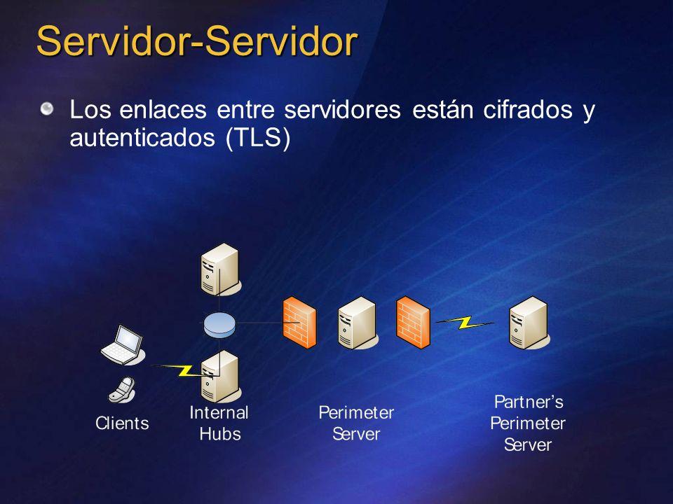 Servidor-Servidor Los enlaces entre servidores están cifrados y autenticados (TLS)