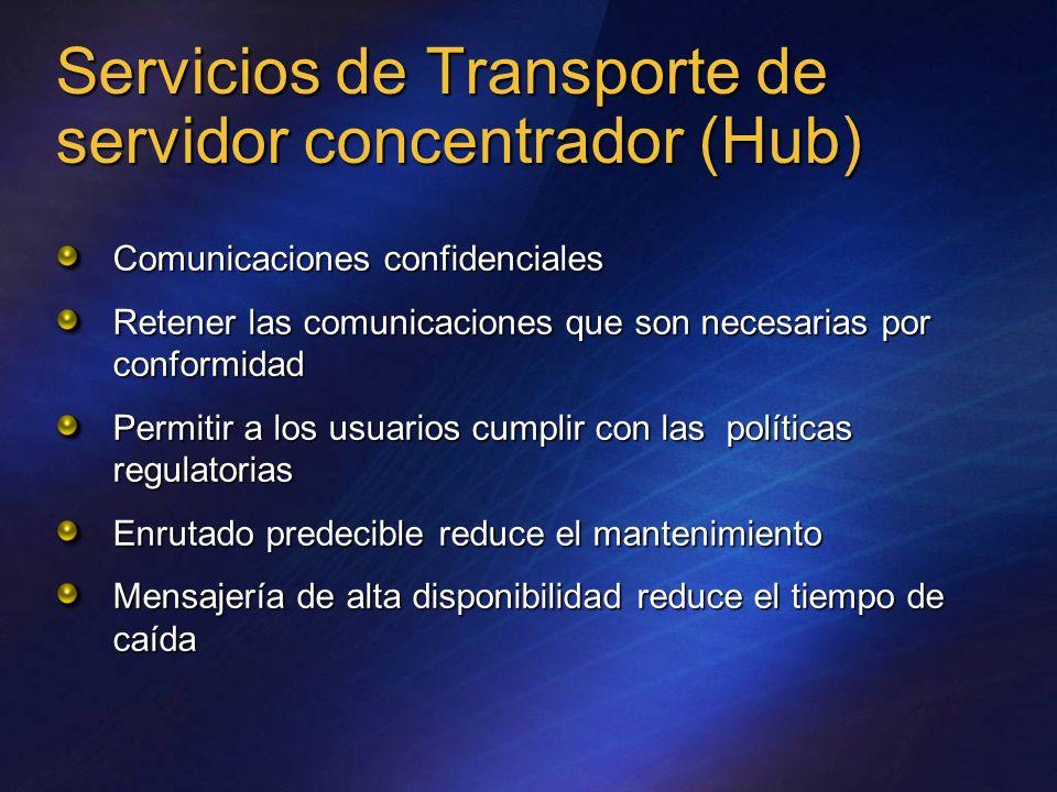 Servicios de Transporte de servidor concentrador (Hub) Comunicaciones confidenciales Retener las comunicaciones que son necesarias por conformidad Per