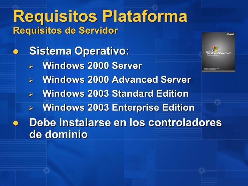 Requisitos Plataforma Requisitos de Servidor Sistema Operativo: Sistema Operativo: Windows 2000 Server Windows 2000 Server Windows 2000 Advanced Serve