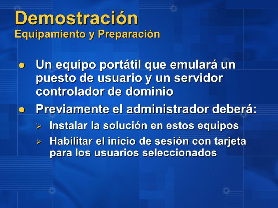 Demostración Equipamiento y Preparación Un equipo portátil que emulará un puesto de usuario y un servidor controlador de dominio Un equipo portátil qu