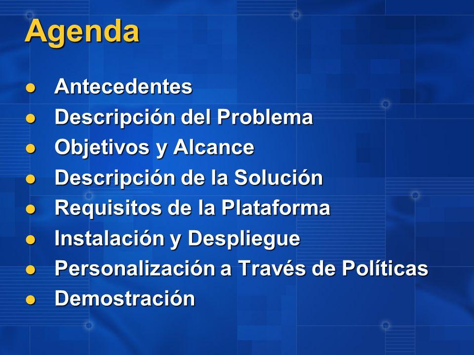 Agenda Antecedentes Antecedentes Descripción del Problema Descripción del Problema Objetivos y Alcance Objetivos y Alcance Descripción de la Solución