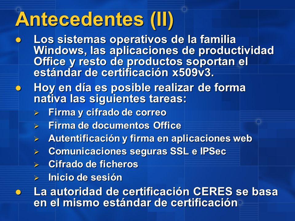 Descripción del Problema El inicio de sesión mediante tarjeta CERES requiere una adaptación: El inicio de sesión mediante tarjeta CERES requiere una adaptación: El inicio de sesión requiere relacionar el certificado con la cuenta del usuario El inicio de sesión requiere relacionar el certificado con la cuenta del usuario Windows 2000, 2003 y XP implementan esta relación mediante el uso el uso de una extensión del certificado Windows 2000, 2003 y XP implementan esta relación mediante el uso el uso de una extensión del certificado Los certificados CERES emitidos hasta la fecha no incorporan dicha extensión y dado que se tratan de información relacionada más con el ámbito laboral que con el personal se cuestiona su inclusión.