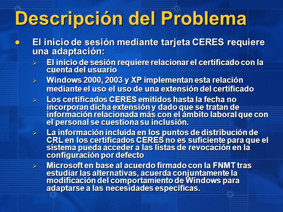 Descripción del Problema El inicio de sesión mediante tarjeta CERES requiere una adaptación: El inicio de sesión mediante tarjeta CERES requiere una a