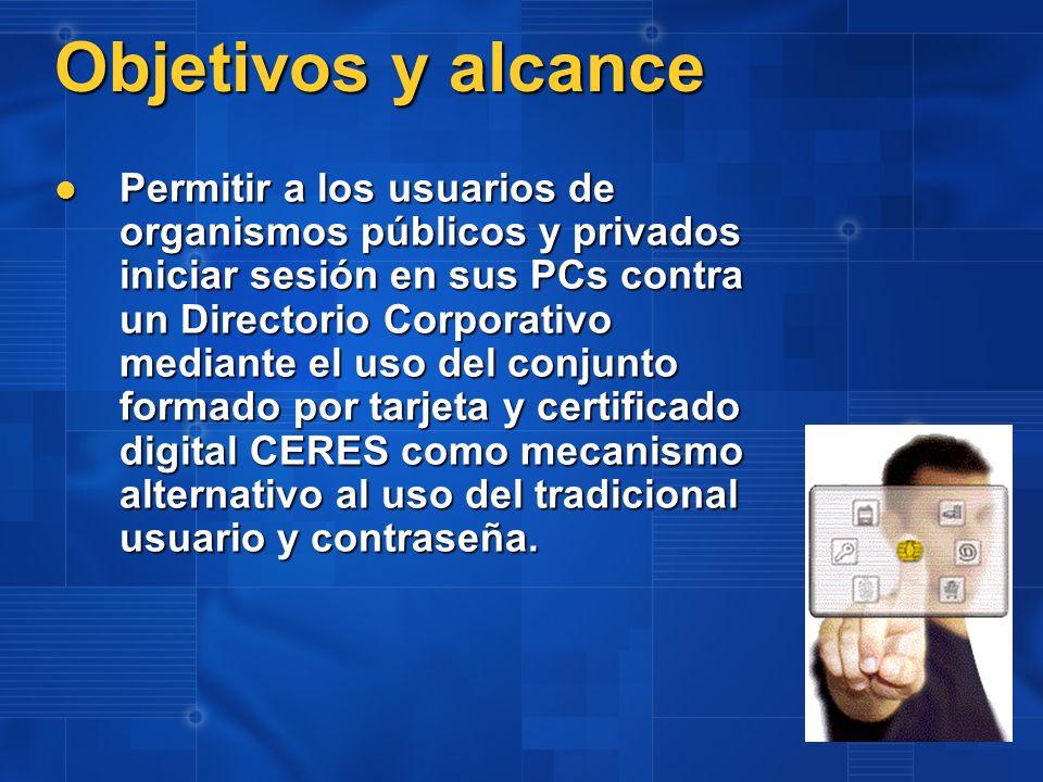 Descripción de la Solución Microsoft ha desarrollado un conjunto de módulos que modifican el comportamiento estándar de Windows XP y Directorio Activo, que permiten relacionar el certificado y la cuenta de usuario usuario mediante el uso del Directorio Activo.