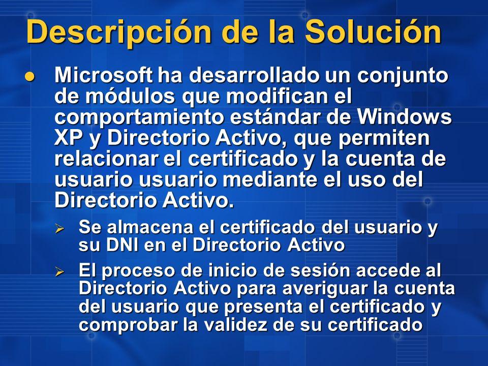Descripción de la Solución Microsoft ha desarrollado un conjunto de módulos que modifican el comportamiento estándar de Windows XP y Directorio Activo