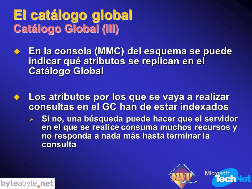 El catálogo global Catálogo Global (III) En la consola (MMC) del esquema se puede indicar qué atributos se replican en el Catálogo Global En la consola (MMC) del esquema se puede indicar qué atributos se replican en el Catálogo Global Los atributos por los que se vaya a realizar consultas en el GC han de estar indexados Los atributos por los que se vaya a realizar consultas en el GC han de estar indexados Si no, una búsqueda puede hacer que el servidor en el que se realice consuma muchos recursos y no responda a nada más hasta terminar la consulta Si no, una búsqueda puede hacer que el servidor en el que se realice consuma muchos recursos y no responda a nada más hasta terminar la consulta