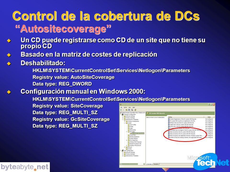 Control de la cobertura de DCs Autositecoverage Un CD puede registrarse como CD de un site que no tiene su propio CD Un CD puede registrarse como CD de un site que no tiene su propio CD Basado en la matriz de costes de replicación Basado en la matriz de costes de replicación Deshabilitado: Deshabilitado:HKLM\SYSTEM\CurrentControlSet\Services\Netlogon\Parameters Registry value: AutoSiteCoverage Data type: REG_DWORD Configuración manual en Windows 2000: Configuración manual en Windows 2000:HKLM\SYSTEM\CurrentControlSet\Services\Netlogon\Parameters Registry value: SiteCoverage Data type: REG_MULTI_SZ Registry value: GcSiteCoverage Data type: REG_MULTI_SZ