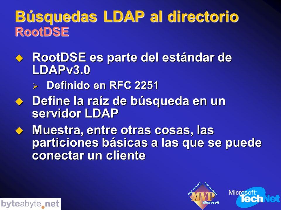 Búsquedas LDAP al directorio RootDSE RootDSE es parte del estándar de LDAPv3.0 RootDSE es parte del estándar de LDAPv3.0 Definido en RFC 2251 Definido en RFC 2251 Define la raíz de búsqueda en un servidor LDAP Define la raíz de búsqueda en un servidor LDAP Muestra, entre otras cosas, las particiones básicas a las que se puede conectar un cliente Muestra, entre otras cosas, las particiones básicas a las que se puede conectar un cliente
