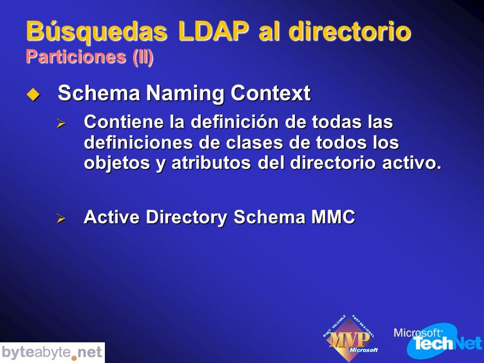 Búsquedas LDAP al directorio Particiones (II) Schema Naming Context Schema Naming Context Contiene la definición de todas las definiciones de clases de todos los objetos y atributos del directorio activo.