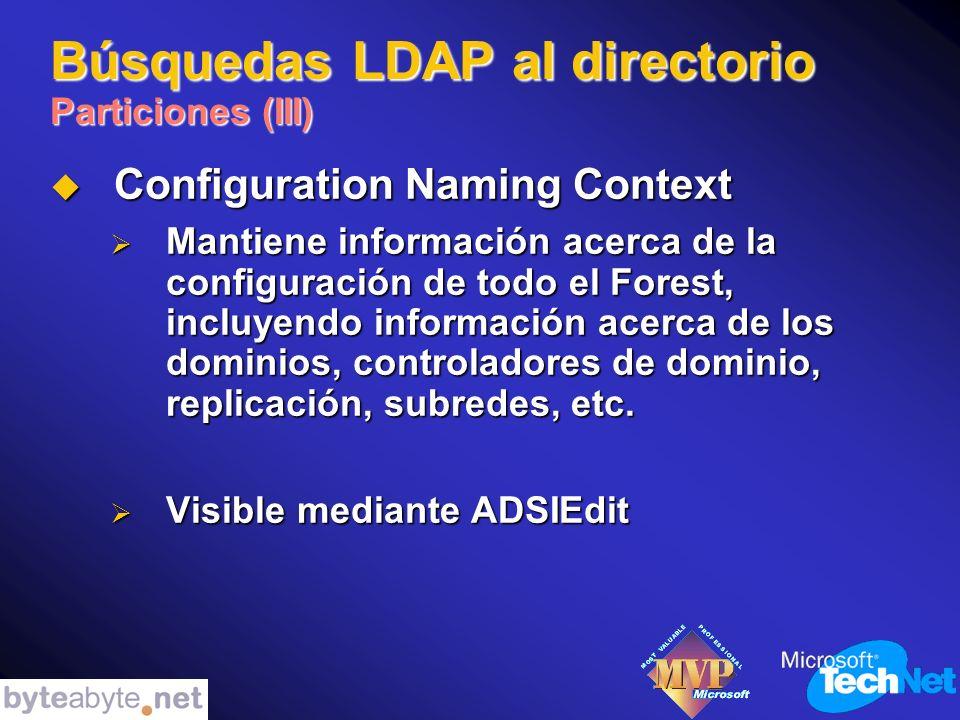 Búsquedas LDAP al directorio Particiones (III) Configuration Naming Context Configuration Naming Context Mantiene información acerca de la configuración de todo el Forest, incluyendo información acerca de los dominios, controladores de dominio, replicación, subredes, etc.