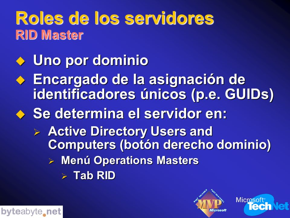 Roles de los servidores RID Master Uno por dominio Uno por dominio Encargado de la asignación de identificadores únicos (p.e.