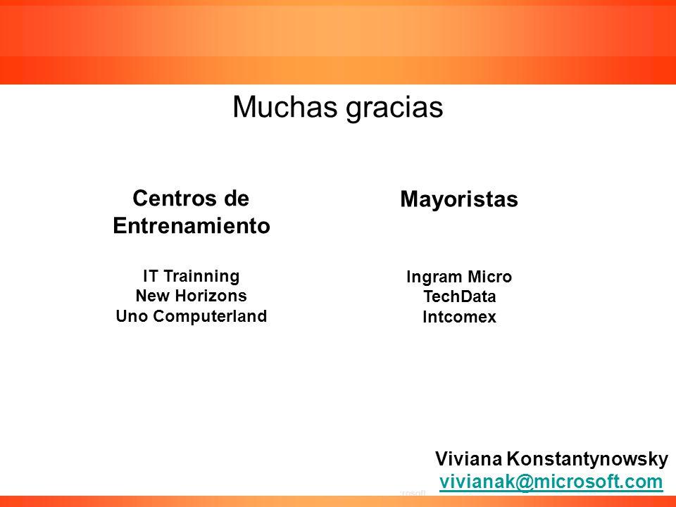 Confidencial de Microsoft Viviana Konstantynowsky vivianak@microsoft.com vivianak@microsoft.com Muchas gracias Centros de Entrenamiento IT Trainning N