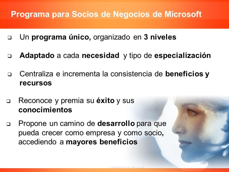 Confidencial de Microsoft Un programa único, organizado en 3 niveles Adaptado a cada necesidad y tipo de especialización Centraliza e incrementa la co