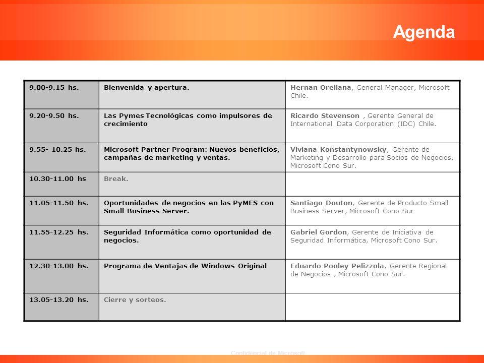 Confidencial de Microsoft Agenda 9.00-9.15 hs.Bienvenida y apertura.Hernan Orellana, General Manager, Microsoft Chile. 9.20-9.50 hs.Las Pymes Tecnológ