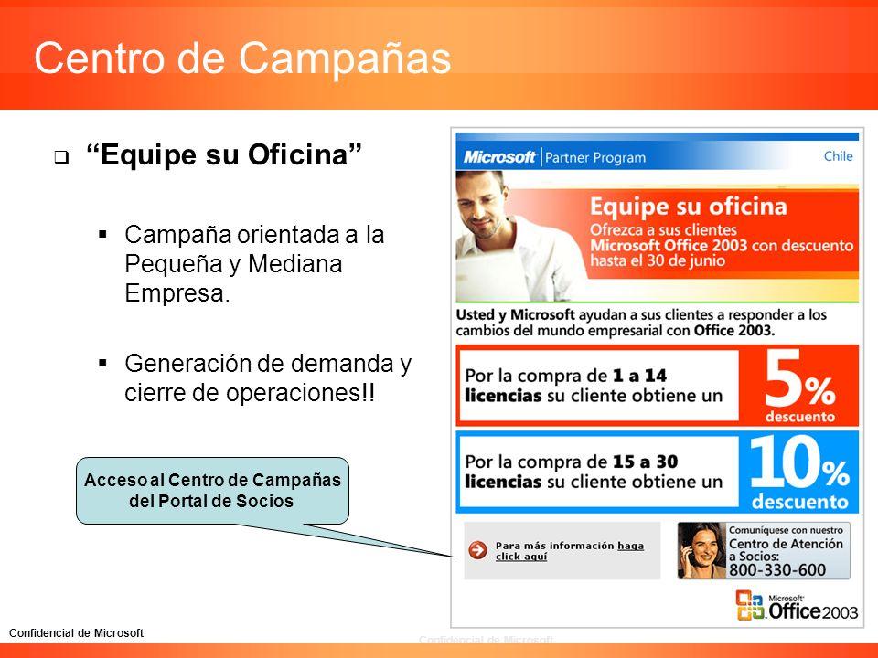 Confidencial de Microsoft Centro de Campañas Equipe su Oficina Campaña orientada a la Pequeña y Mediana Empresa. Generación de demanda y cierre de ope
