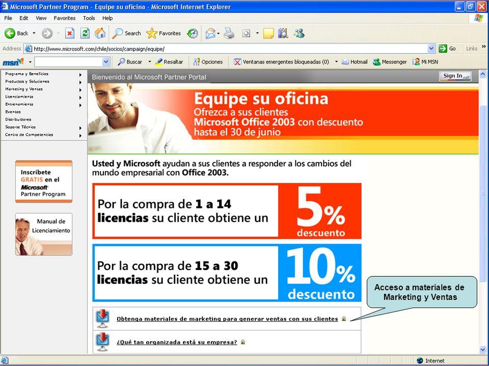 Confidencial de Microsoft Acceso a materiales de Marketing y Ventas