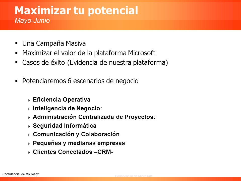 Confidencial de Microsoft Maximizar tu potencial Mayo-Junio Una Campaña Masiva Maximizar el valor de la plataforma Microsoft Casos de éxito (Evidencia