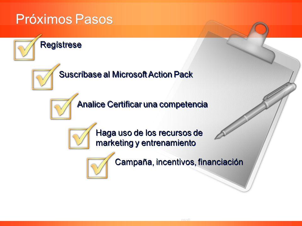 Confidencial de Microsoft Regístrese Suscríbase al Microsoft Action Pack Analice Certificar una competencia Campaña, incentivos, financiación Haga uso